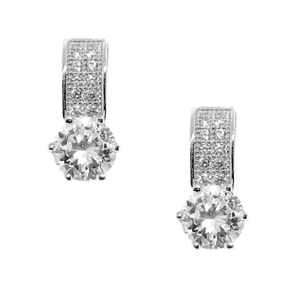 Gioelli Sterling Silver Clear Cubic Zirconia Strip Earrings