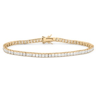 Gioelli Gold over Sterling Silver Princess-cut Cubic Zirconia Tennis Bracelet