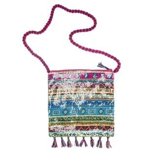 Muk Luks Women's Pink Crossbody Sequin Square Bag