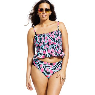Swim Sexy Plus-size Sunglasses Smocked Midkini Top