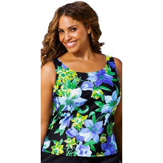 Beach Belle Plus-size Fiesta Rose Tankini Top