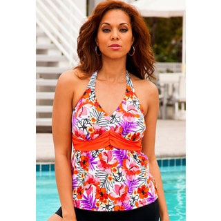 Shore Club Plus-size Cherry Blossom Orange Sash Halter Tankini Top