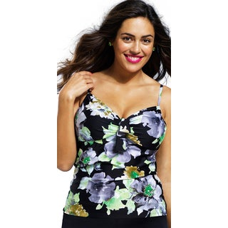 Shore Club Plus-size Romantic Garden Underwire Tankini Top