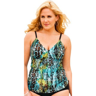 Shore Club Women's Cheetah Reptile Side Shirred Tankini Top
