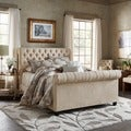 TRIBECCA HOME Knightsbridge Rolled Top Tufted Chesterfield King Bed with Footboard