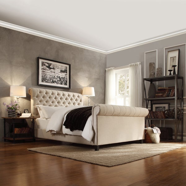 Tribecca home knightsbridge beige linen rolled top tufted chesterfield king bed with footboard Bedroom furniture chesterfield