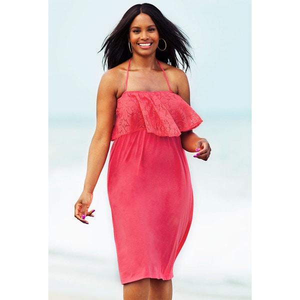 Aruba Women's Plus Size Pink Flounce Dress