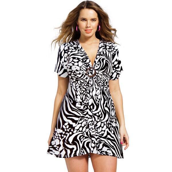 Women's Plus Size Zebra Splash Ring Front Tunic