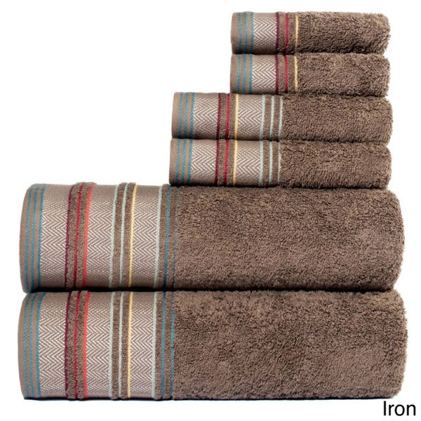 YvesYarn Dyed 100-percent Cotton Jacquard 6-piece Towel Set (As Is Item)
