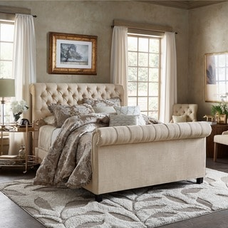 TRIBECCA HOME Knightsbridge Rolled Top Tufted Chesterfield Queen Bed with Footboard