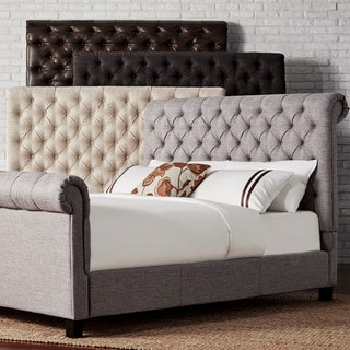 TRIBECCA HOME Knightsbridge Rolled Top Tufted Chesterfield Queen Platform Bed with Footboard