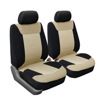 FH Group Beige and Black Premium Fabric Front Bucket Seat Covers (Set of 2)