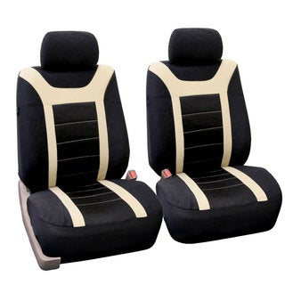 FH Group Beige and Black Sports Front Bucket Seats Covers (Set of 2)