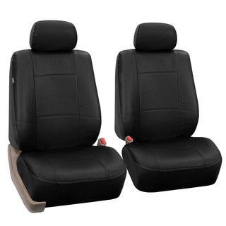 FH Group Black PU Leather Universal Fit Front Bucket Seat Covers (Set of 2)