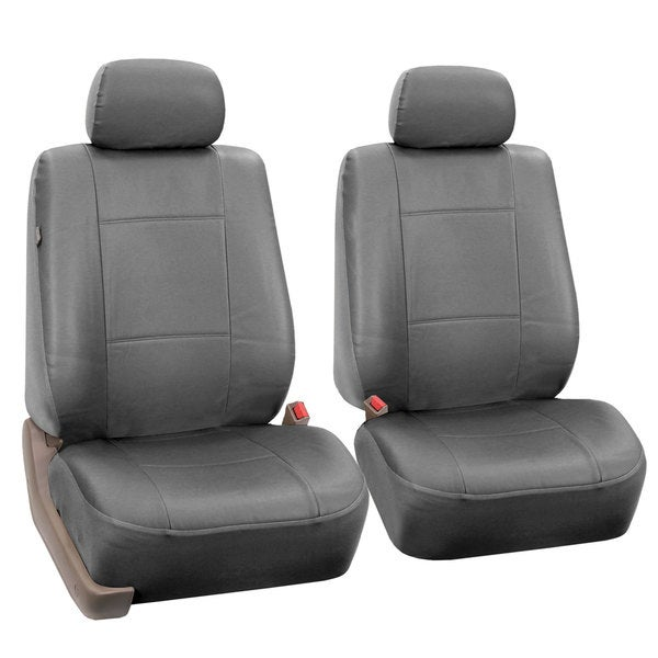 FH Group Solid Grey PU Leather Universal Fit Front Bucket Seat Covers (Set of 2)