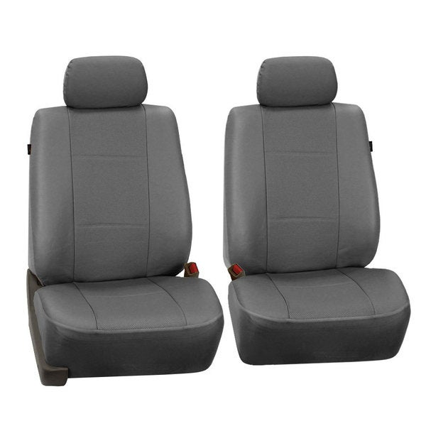 FH Group Grey Deluxe Leatherette Front Bucket Seat Covers