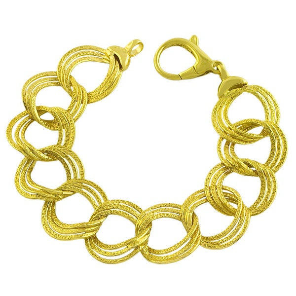 Gold over Silver 3-row Hammered Twisted Rolo Link Bracelet