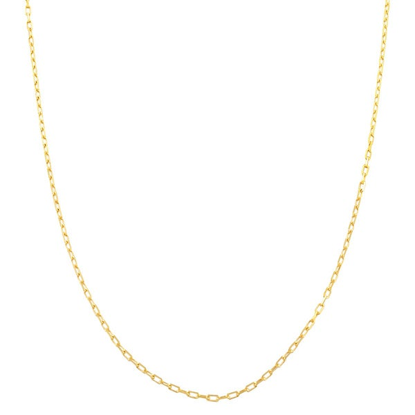 Fremada 14 Karat Yellow Gold 0.9mm Diamond Cut Long Cable Chain (20 inch)