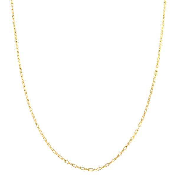 Fremada 14 Karat Yellow Gold 0.9mm Diamond Cut Long Cable Chain (20 inch)