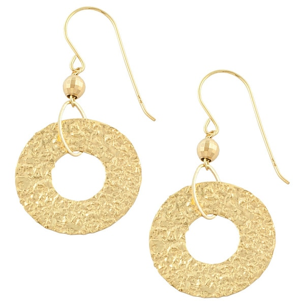 Fremada 10k Yellow Gold Hammered Disc Dangle Earrings