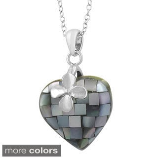 Fremada Rhodium Plated Sterling Silver Mother of Pearl Heart Necklace