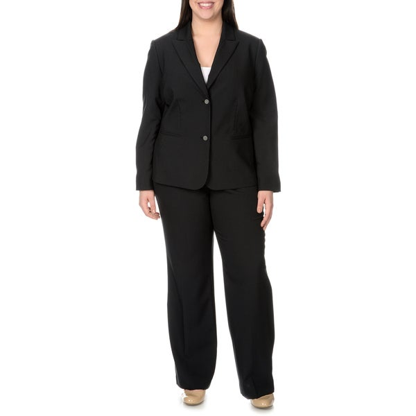 Tahari Arthur S. Levine Women's Plus Size Single Breasted Pinstripe Pant Suit