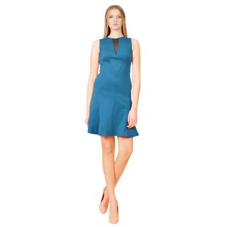 Versace Blue Illusion Geometric Sleeveless Cocktail Evening Dress
