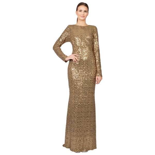 Badgley Mischka Gold Sequined Long Sleeve Cowl Back Evening Gown Dress
