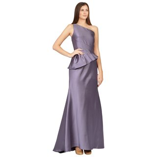 Badgley Mischka Lustrous Lilac One-Shoulder Peplum Evening Gown Dress