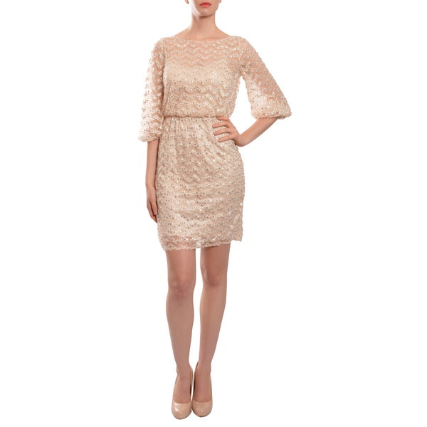 Aidan Mattox All-over Embellished Pink Zig Zag Sequined Cocktail Party Dress