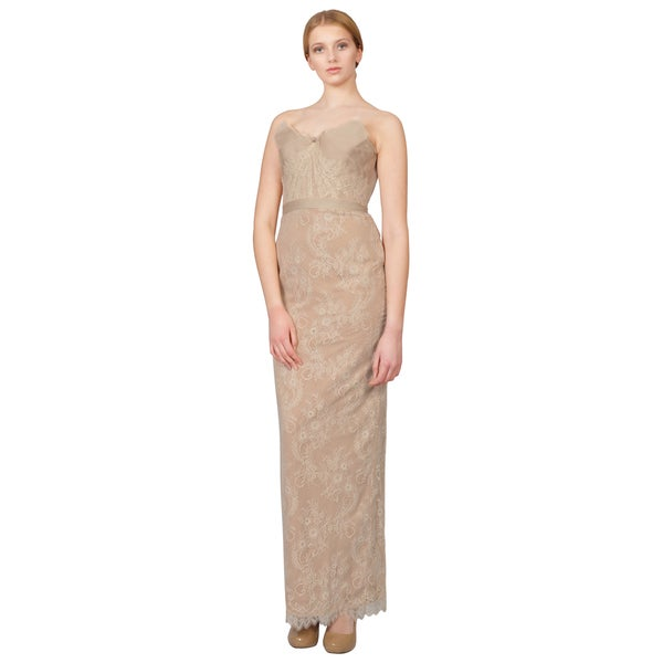 Notte by Marchesa Blush Floral Lace Draped Strapless Evening Dress