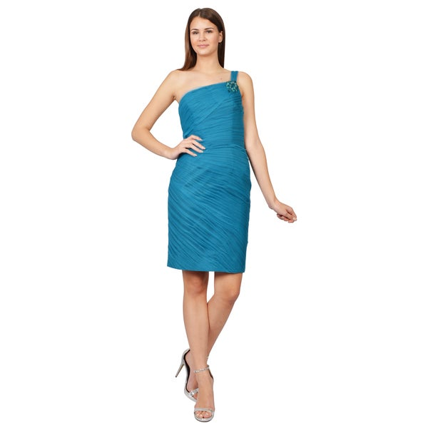 ML Monique Lhuillier Teal One Shoulder Pleated Chiffon Cocktail Evening Dress
