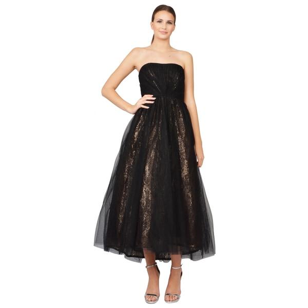 ML Monique Lhuillier Black Tulle Metallic Sequin Lace Strapless Dress