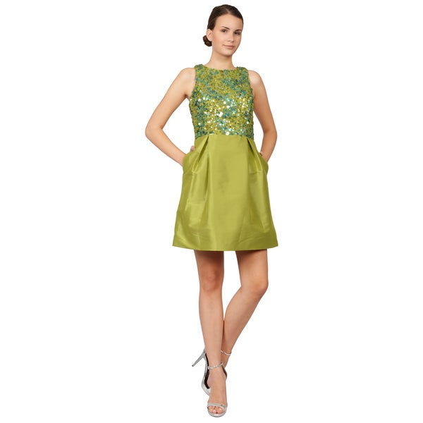 ML Monique Lhuillier Green Sequin Faille Racerback Cocktail Evening Dress