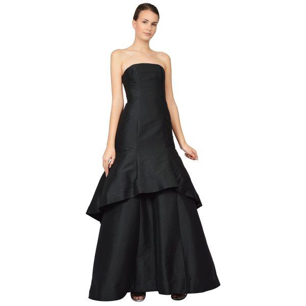 ML Monique Lhuillier Black Strapless Faille Trumpet Evening Gown Dress