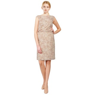 Armani Collezioni Beige Floral Embroidered Sleeveless Open Back Evening Dress