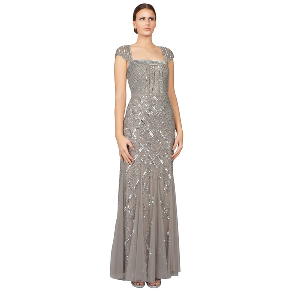 Adrianna Papell Glittering Silver Cap Sleeve Beaded Sequin Evening Gown Dress