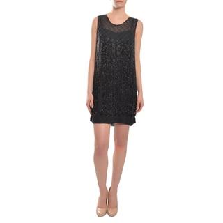 Candela NYC Sassy Black Beaded Fringe Cocktail Party Evening Dress