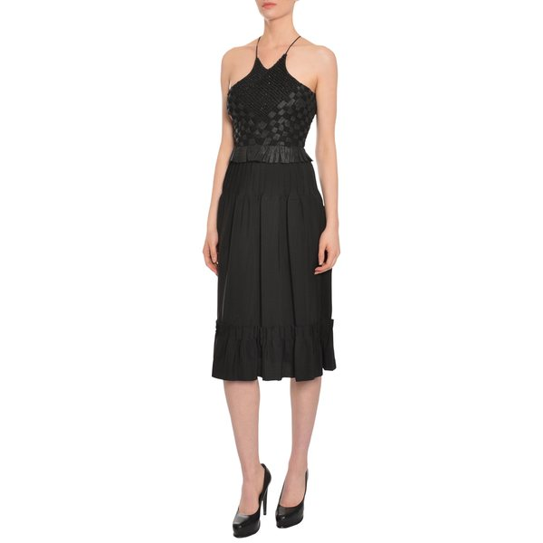 Escada Women's Black Basket Weave Beaded Pin-Tucked Skirt Evening Dress