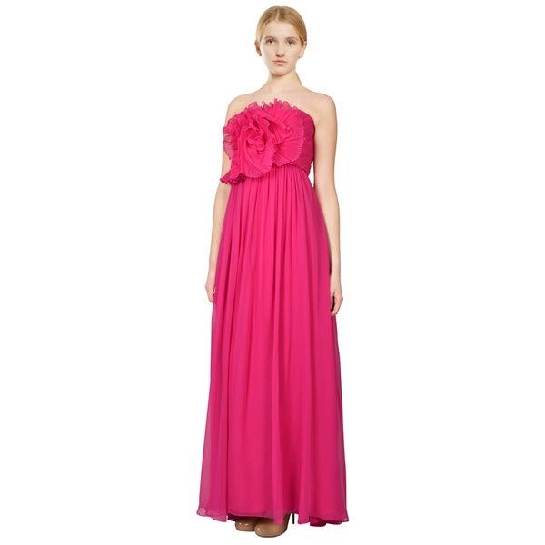 Notte by Marchesa Lipstick Pink Chiffon Strapless Evening Dress