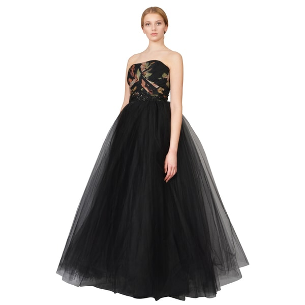 Notte by Marchesa Floral Print Bodice Tulle Overlay Formal Evening Dress