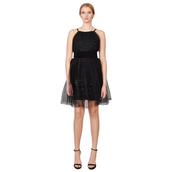 Notte by Marchesa Starry Black Sequin Velvet Tulle Overlay Cocktail Dress