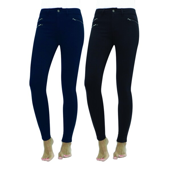 MeMoi Diagonal Zip Leggings