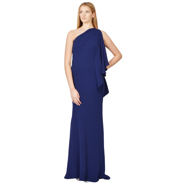 Carmen Marc Valvo Cobalt Blue Ruffled Crepe One Shoulder Draped Evening Gown