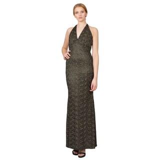 Carmen Marc Valvo Romantic Burnished Gold Floral Brocade Halter Gown Dress