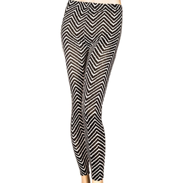 Women's Full-length Black/ White Chevron Printed Leggings