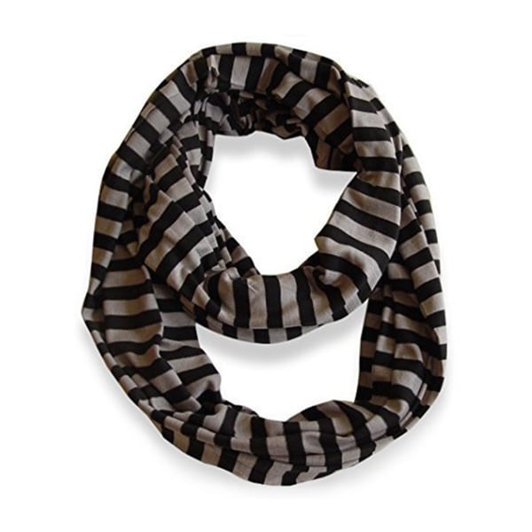 Peach Couture Striped Jersey Infinity Loop Scarf