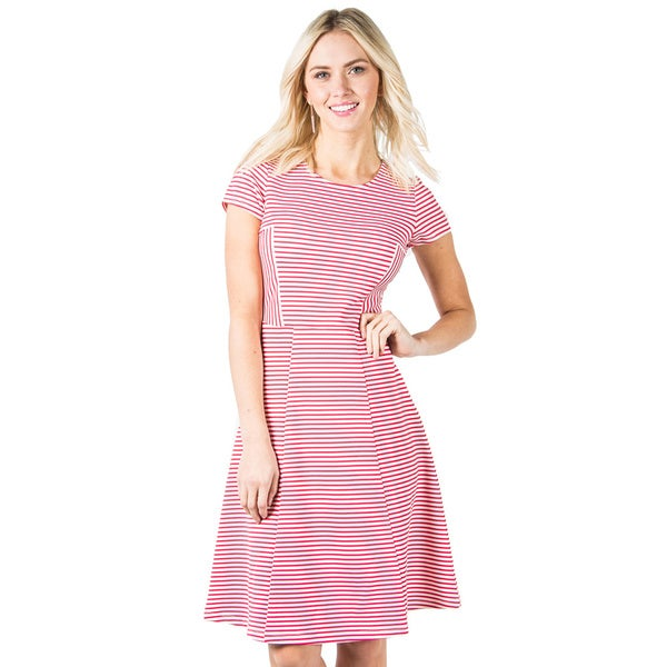 DownEast Basics Women's Stripe Textured Beau Bande Dress