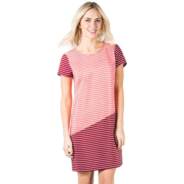 DownEast Basics Women's Diagonal Color Block Shift Dress