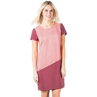 DownEast Basics Women's Diagonal Color Block Shift Dress